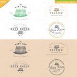 Grupo de projeto do logotipo do tambor do vintage para o ofício feito a mão do álcool Fotos de Stock