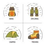 Grupo de projeto linear do logotipo para o conceito da caminhada, trekking, do turismo e dos cursos ilustração stock