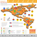 grupo de projeto liso da produção do gás do infographics dos campos de gás e do equipamento de gás nos Americas e no México Foto de Stock Royalty Free