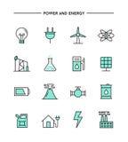 Grupo de projeto liso, de linha fina poder e de ícones da energia Fotos de Stock Royalty Free