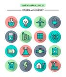 Grupo de projeto liso, de sombra longa, de linha fina poder e de ícones da energia Imagens de Stock
