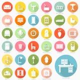Grupo de projeto liso dos ícones da mobília Foto de Stock
