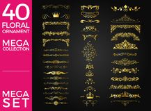Grupo de projeto luxuoso do vetor do ornamento floral ilustração do vetor