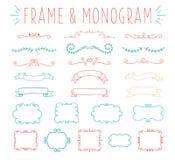 Grupo de projeto simples e gracioso do monograma ilustração royalty free