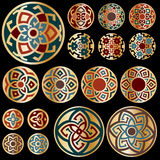 Grupo de projetos geométricos redondos coloridos do ouro Foto de Stock