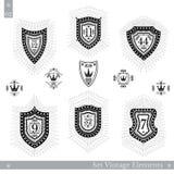 Grupo de protetores geométricos diferentes com raio claro Moldes do estilo do vintage do moderno para sinais do negócio, etiqueta Imagem de Stock