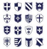 Grupo de protetores heráldicos no fundo branco Imagem de Stock Royalty Free