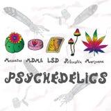 Grupo de Psychedelics Elementos tirados mão ilustração stock