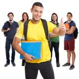 Grupo de pulgares acertados del éxito de los estudiantes encima de la gente cuadrada sonriente aislada en blanco fotos de archivo