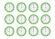 Grupo de pulsos de disparo de parede verdes com tempo diferente isolados no fundo branco Fotos de Stock