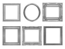 Grupo de quadro cinzento do vintage isolado no branco Imagem de Stock Royalty Free