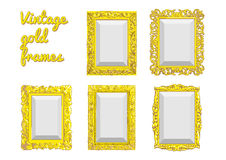 Grupo de quadro dourado do vintage do vetor Imagens de Stock Royalty Free