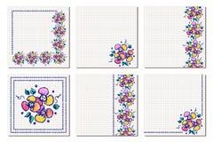 Grupo de quadro floral do vetor, cartão, beira Vetor ajustado: 2014 cavalos à moda Molde diferente com mão colorida as flores e a Imagens de Stock Royalty Free