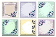 Grupo de quadro floral do vetor, cartão, beira Vetor ajustado: 2014 cavalos à moda Molde diferente com mão colorida as flores e a Imagem de Stock Royalty Free