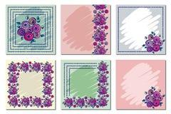 Grupo de quadro floral do vetor, cartão, beira Vetor ajustado: 2014 cavalos à moda Molde diferente com mão colorida as flores e a Foto de Stock