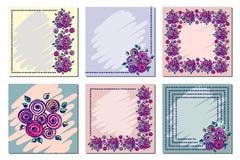 Grupo de quadro floral do vetor, cartão, beira Vetor ajustado: 2014 cavalos à moda Molde diferente com mão colorida as flores e a Imagens de Stock
