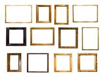 Grupo de quadro retangular dourado retro para a fotografia ilustração do vetor