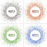 Grupo de quadros coloridos brilhantes do círculo do ano novo 2017 nos fundos brancos Imagem de Stock