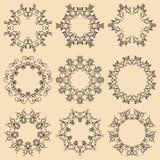 Grupo de quadros da mandala Ornamento redondos decorativos Imagem de Stock