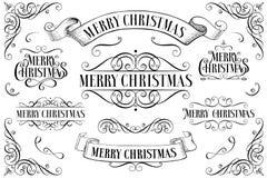 Grupo de quadros do Natal Natal Callygraphic - inscrição tirada mão lettering Texto para o cartão ano novo feliz 2007 ilustração do vetor