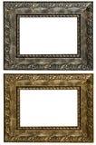 Grupo de 2 quadros do ouro Isolado no fundo branco Fotografia de Stock Royalty Free