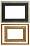 Grupo de 2 quadros do ouro Isolado no fundo branco Fotografia de Stock