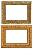 Grupo de 2 quadros do ouro Isolado no fundo branco Fotos de Stock Royalty Free