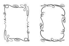Grupo de quadros do vetor do Flourish Coleção dos retângulos com squiggles, piruetas e enfeites para a imagem e o texto fotos de stock