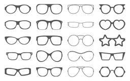 Grupo de quadros dos óculos de sol isolados no branco Fotografia de Stock Royalty Free