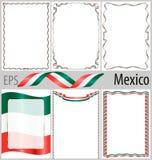 Grupo de 6 quadros e beiras com colorir a bandeira de México Imagens de Stock Royalty Free