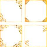 Quadro floral do ouro Imagens de Stock Royalty Free