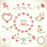 Grupo de quadros florais e de vinhetas do vintage Vector a ilustração, EPS10 ilustração royalty free