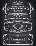 Grupo de quadros retros e de beiras do vintage Fundo da placa de giz Imagem de Stock Royalty Free