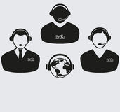 Grupo de quatro ícones do centro de atendimento Imagens de Stock Royalty Free