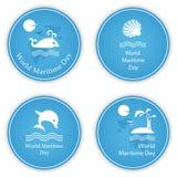 Grupo de quatro ícones redondos no tema do dia marítimo do mundo Fotos de Stock Royalty Free