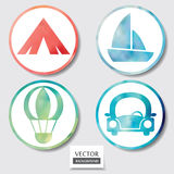 Grupo de quatro ícones. Web e botão móvel da aquarela do círculo dos apps. Foto de Stock Royalty Free