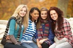 Grupo de quatro adolescentes que sentam-se no banco imagens de stock
