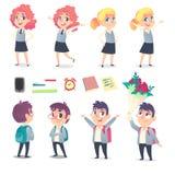 Grupo de quatro alunos e fontes de escola com duas emoções diferentes imagem de stock royalty free