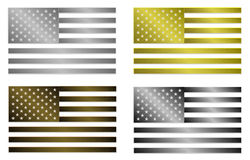 Grupo de quatro bandeiras metálicas estilizados simplesmente isoladas do Estados Unidos da América Fotos de Stock Royalty Free