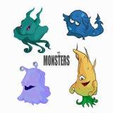 Grupo de quatro bonitos e de monstro colorido dos desenhos animados Imagem de Stock Royalty Free