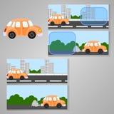 Grupo de quatro cartões com um carro ilustração royalty free