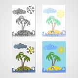 Grupo de quatro cartazes com a ilha tropical com palmas e ondas Imagens de Stock