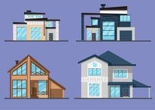 Grupo de quatro casas lisas do estilo dos desenhos animados da família imagens de stock royalty free