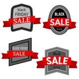 Grupo de quatro crachás pretos da venda de sexta-feira com fita vermelha em um fundo branco Fotografia de Stock Royalty Free