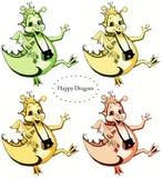 Grupo de quatro dragões felizes: verde, arenoso, amarelo e alaranjado ilustração royalty free