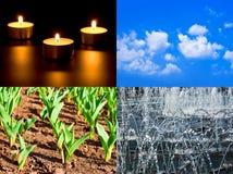 Grupo de quatro elementos fogo, ar, terra, água foto de stock royalty free