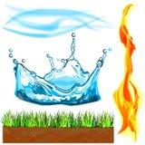 Grupo de quatro elementos no baixo estilo poli imagens de stock royalty free