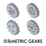 Grupo de quatro engrenagens isométricas Fotografia de Stock Royalty Free