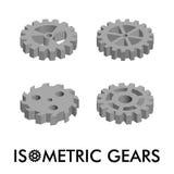 Grupo de quatro engrenagens isométricas isoladas em um fundo branco Ilustração isométrica do vetor Jogo dos ícones 3d Foto de Stock Royalty Free