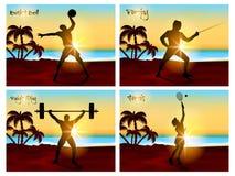 Grupo de quatro esportes com jogadores ilustração royalty free